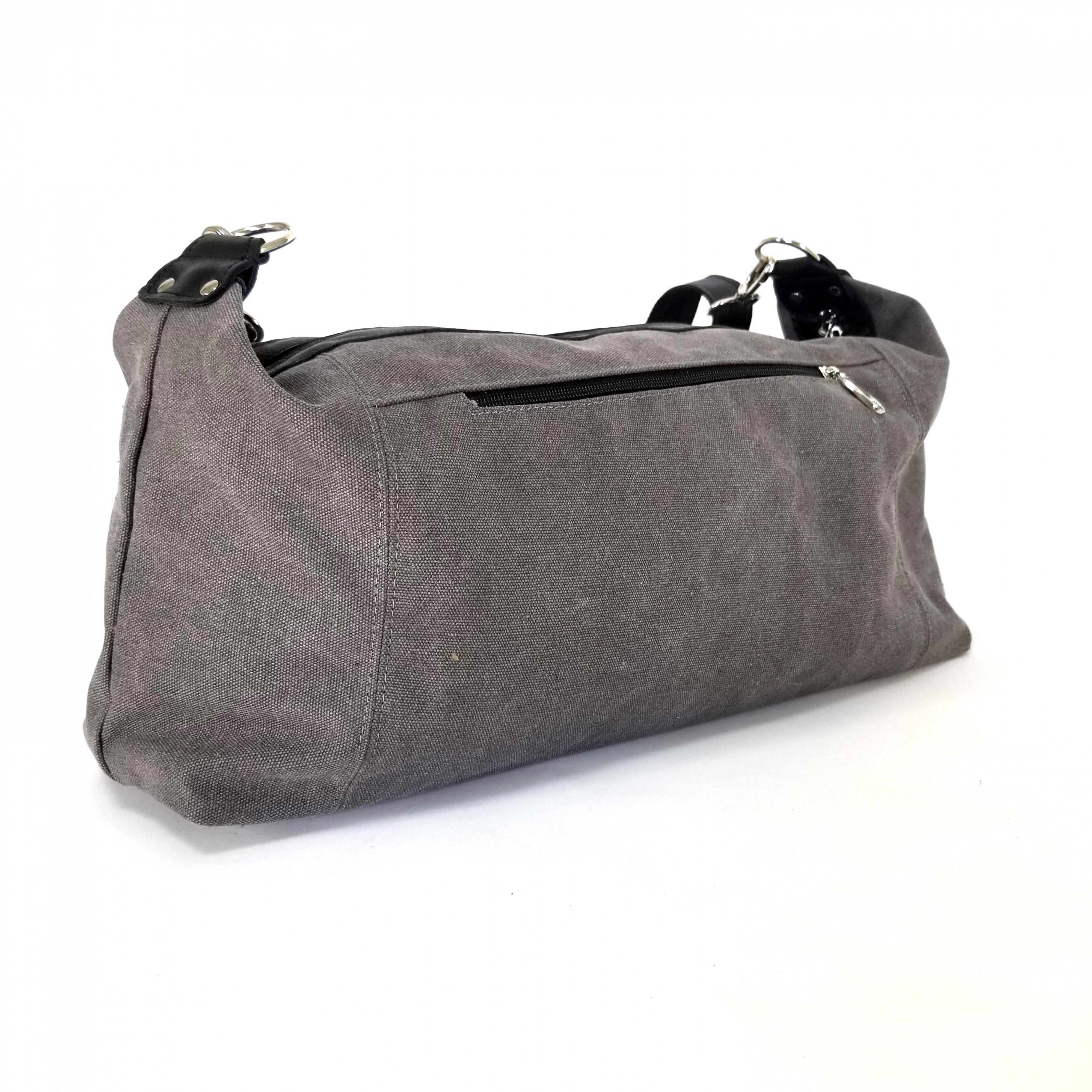 Мужская сумка из ткани Канвас серый+кожа арт.417