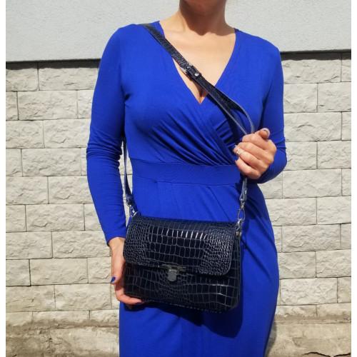Сумка женская Боганни арт.131 синий кайман лак.